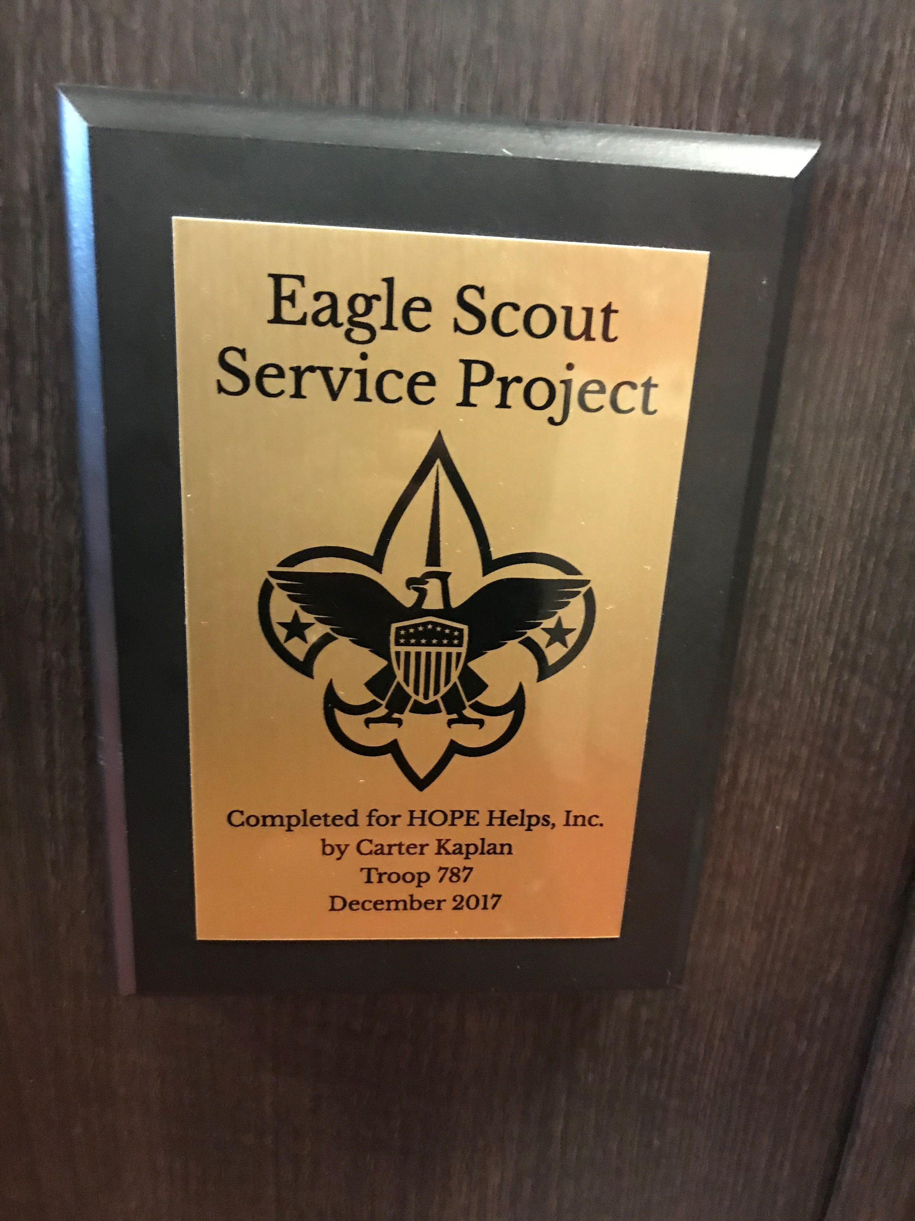 Eagle Scout Project – Carter Kaplan