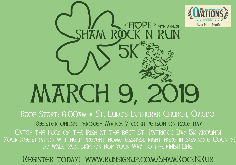 Register for HOPE's 8th Annual Sham Rock N' Run!